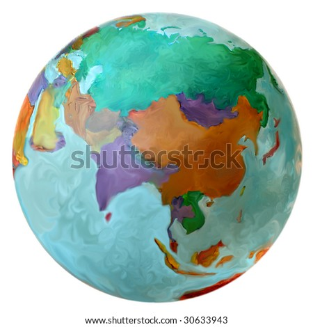 Earth Globe Eastern Hemisphere, Middle East, Russia, Asia, including India, China and Japan