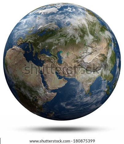 Earth globe - Eurasia. Elements of this image furnished by NASA