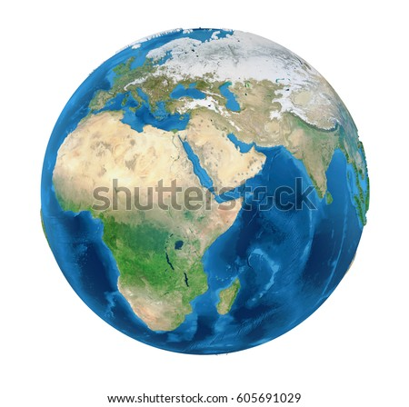 Earth Globe Europe View isolated on white background. 3D rendering (Elements of this image furnished by NASA)