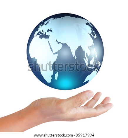 earth globe in hands - stock photo