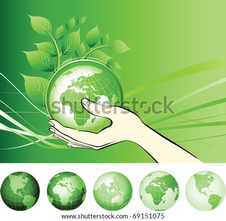Earth globe in hands protected. Earth protection concepts, recycling, world issues, environment themes. Raster version of vector illustration.
