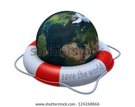 Earth globe in lifebuoy over white, 3d illustration. Elements of this image furnished by NASA.