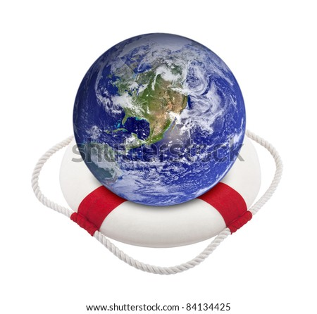 Earth globe in lifebuoy over white. Earth image provided by Nasa.