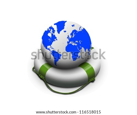 Earth globe in lifebuoy over white.  Elements of this image furnished by NASA