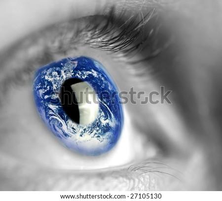 earth globe in woman's eye