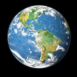 Earth globe isolated on black background. Elements of this image furnished by NASA