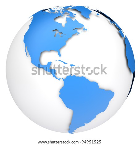 Earth globe map. Side of the North and South America