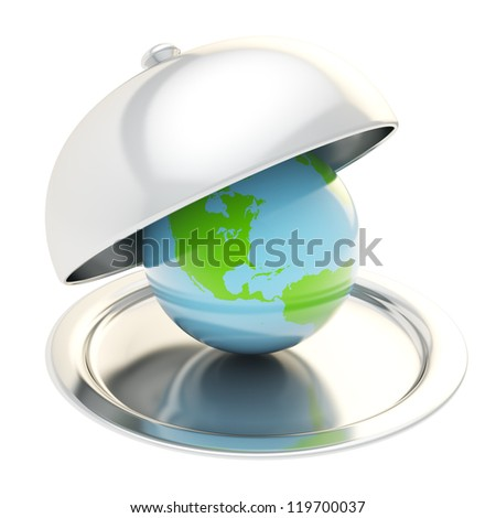 Earth globe on glossy silver salver dish under a chrome food cover over isolated on white