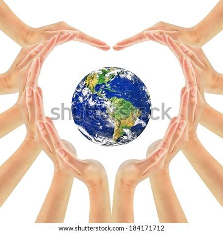 Free photos Conceptual symbol of multiracial human hands surrounding