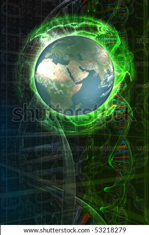 Earth Globe over a sci-fi background with dna chains