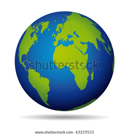 Earth globe planet icon. European and american view.