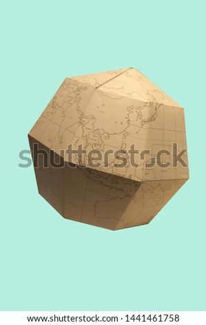 Earth globe Polygonal planet paper or World map polygonal paper