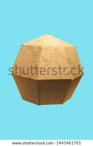 Earth globe Polygonal planet paper or World map polygonal paper