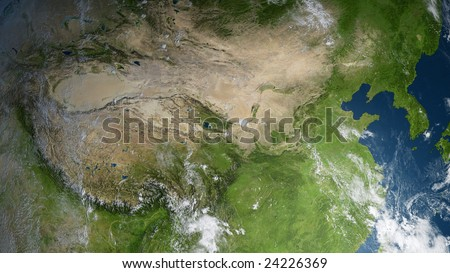 earth globe / satellite view to china and the koreas (detailed 3d rendering with relief mountains, clouds and sea floor structure derived from public domain nasa imagery)