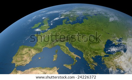 earth globe / satellite view to europe and parts of russia (detailed 3d rendering with relief mountains, clouds and sea floor structure derived from public domain nasa imagery)