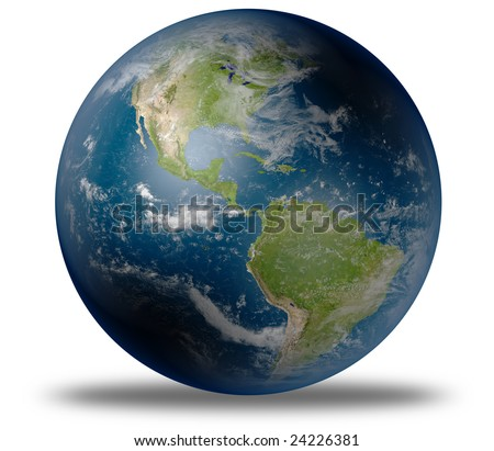 stock photo : earth globe / satellite view to the americas (detailed 3d