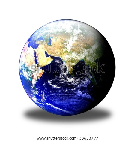 Earth globe showing on white background clouds visible.