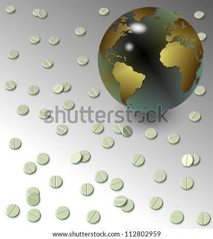 Earth globe surrounded by a number of white tablets / Tablets and earth globe