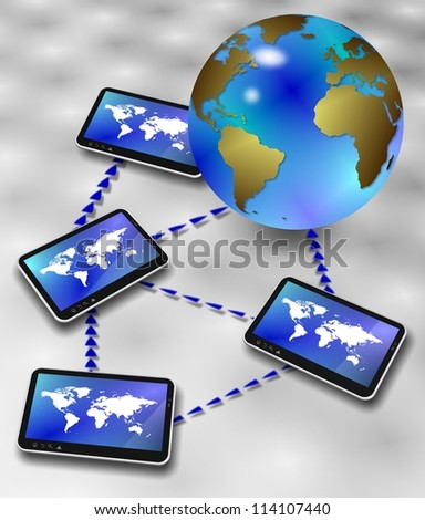 Earth globe surrounded by computer tablets forming a network / Global information network