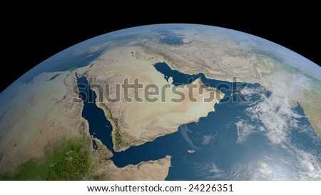 earth globe / view to arabia and iran with persian gulf, red sea and part of indian ocean (detailed 3d rendering with relief mountains, clouds and sea floor structure)