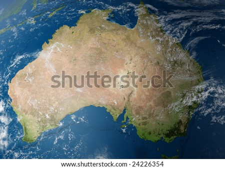 earth globe / view to australia. detailed 3d rendering with relief mountains, clouds and sea floor structure) - stock photo
