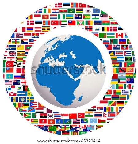 Earth globe with all flags