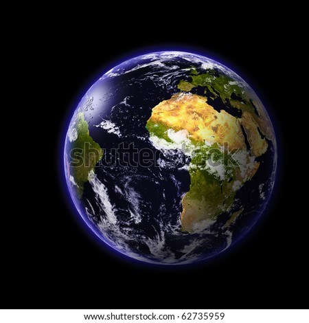 Earth globe with earthlight in black cosmos - stock photo