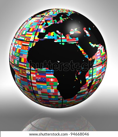 earth globe with flags featuring africa and europe