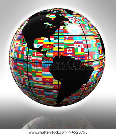 earth globe with flags featuring north and south america