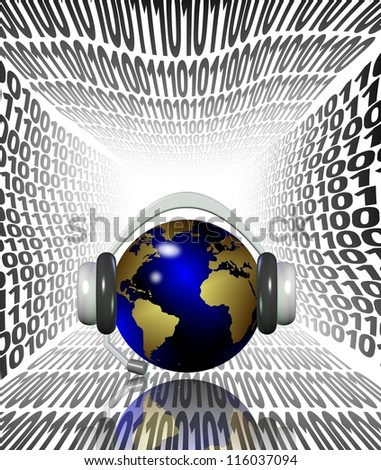 Earth globe with headphones surrounded by wavy binary code / Internet listening