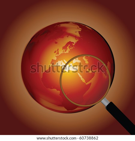 Earth Globe with Magnifying Glass Clip Art