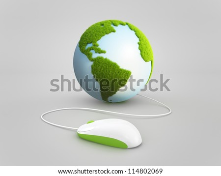 earth globe with mouse concept. elements of this image furnished by NASA