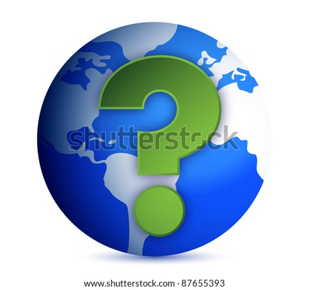 Earth globe with question mark illustration