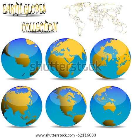 earth globes against white background, abstract art illustration; for vector format please visit my gallery
