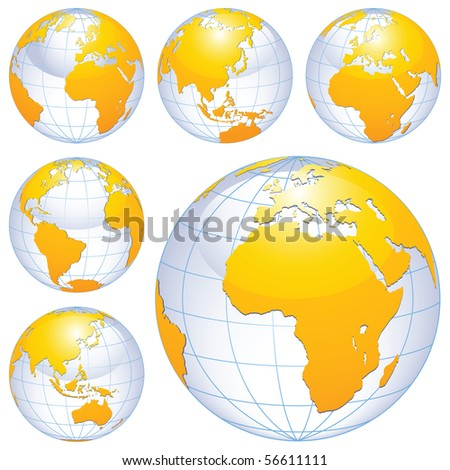 Earth globes isolated on white.