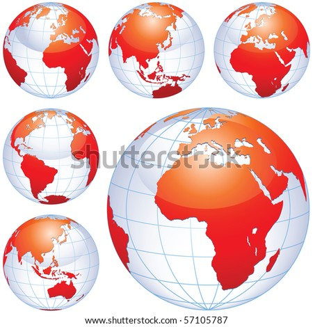 Earth globes isolated on white. This illustration is perfect for a variety of different design projects.