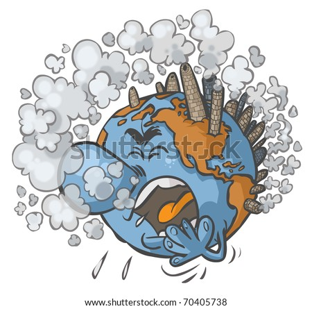 Earth having a cough on white background.