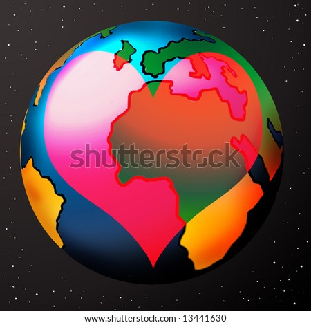 Earth heart shape over it illustration