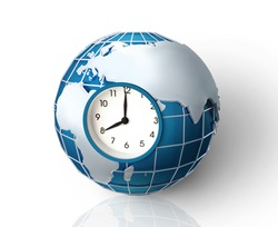 Earth hour concept. Collage of planet with clockface inside of it, isolated on white background