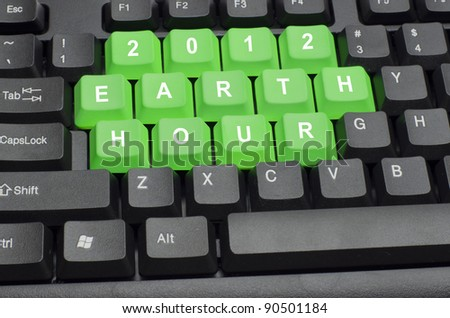earth hour word on black keyboard button