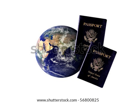Earth image behind two U.S. passports representative of the growth in international travel.  Earth globe image courtesy of NASA.