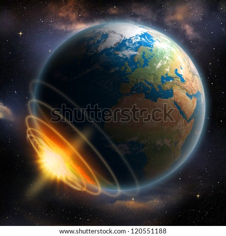 Earth Impact. Elements of this image furnished by NASA