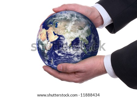 earth in a hands on white background