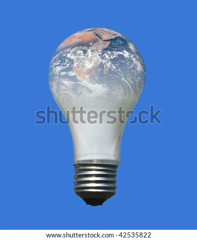 Earth in a light bulb. Concept for world energy. Earth image from http://visibleearth.nasa.gov/