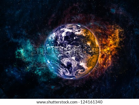 Earth in beautiful space. Elements of this image furnished by NASA
