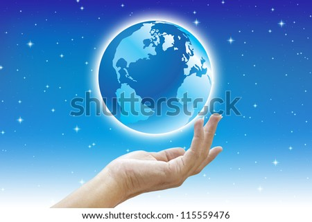 Earth in hand with planet concept save the world