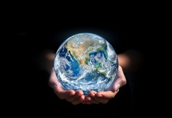 earth in hands. green planet on hand. save of earth. environment concept for background web or world guardian organization.Elements of this image furnished by NASA