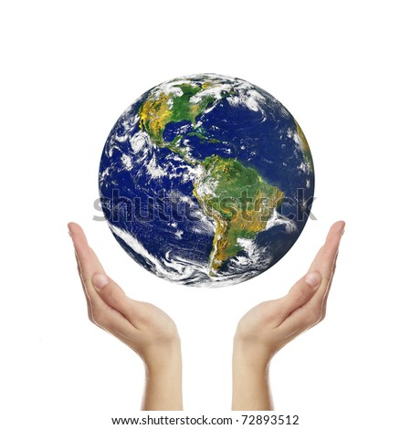 earth in hands isolated on white, photo of Earth from NASA (http://visibleearth.nasa.gov/useterms.php)