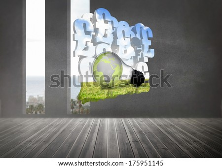 Earth in light bulb on abstract screen against grey room with windows showing the ocean