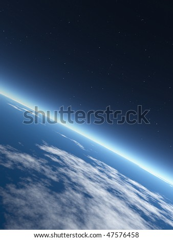 Earth in Space. Rendered graphics #47576458